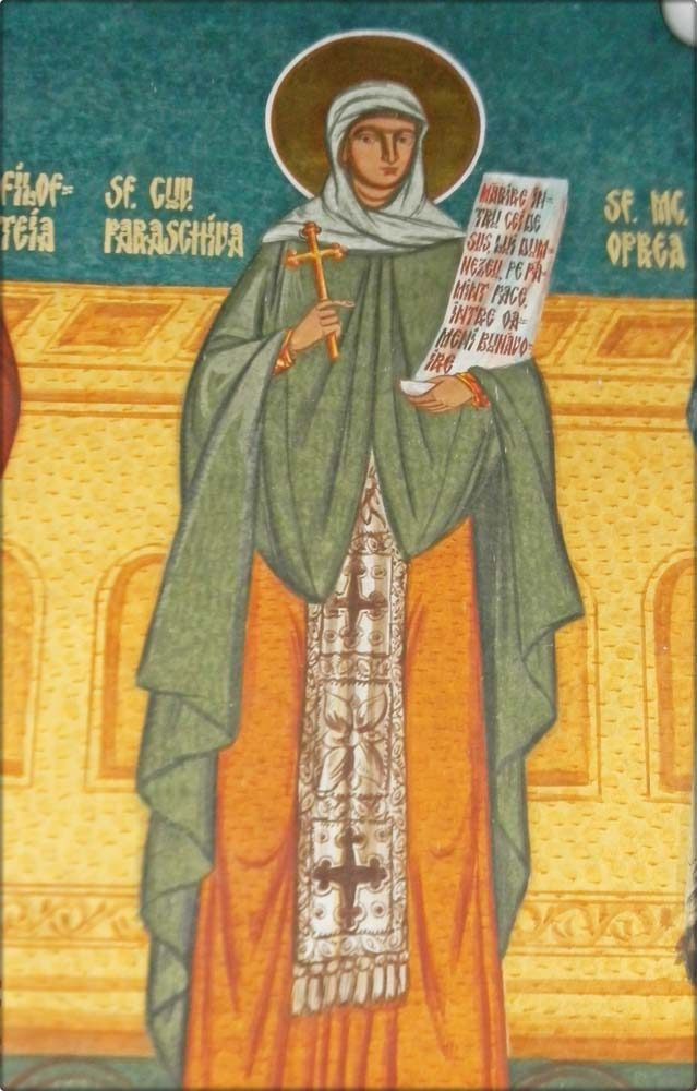 Cuvioasa Parascheva -detaliu de pe peretele stang al naosului